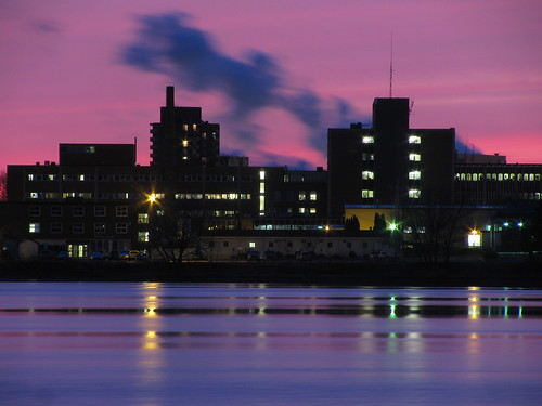 city longexposure sunset ontario canada colour building wet water night digital canon hospital reflections dark landscape lights evening smoke tripod soo northern saultstemarie northernontario algoma billywilson