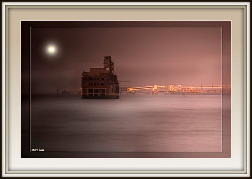 misty night shot of grain fort