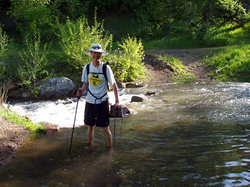Fording the stream at the start of the Spanish Fork Peak trail.