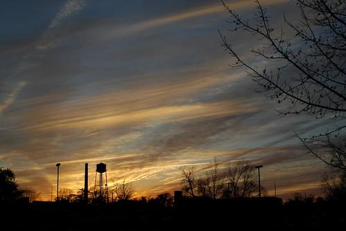 sunset shadow tower beautiful clouds nikon downtown d70 watertower outline picnik tobaccofactory greenvillenc