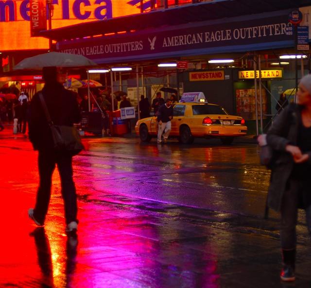 New York Neon rain