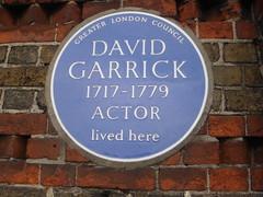Photo of David Garrick blue plaque