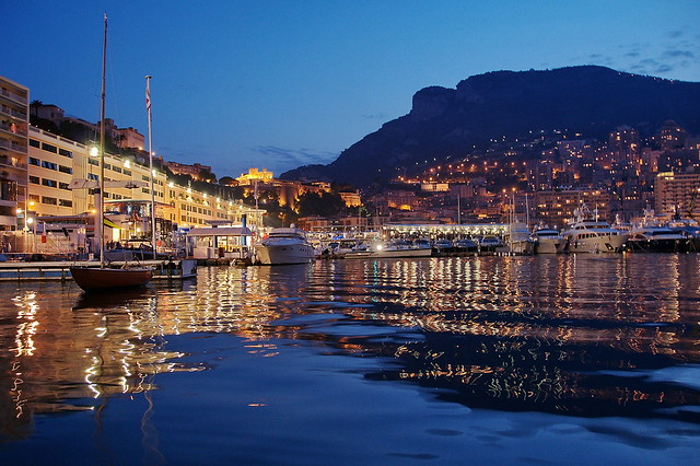 Monaco port at night.