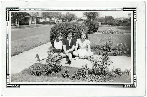 three girls on the front walk