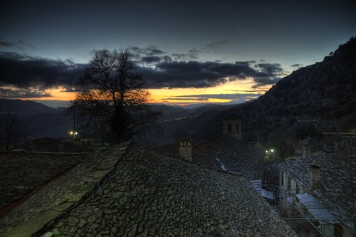 sunset twilight gimp roofs greece slate hdr retouched zagoria photomatix epirus ελλάδα zagori kapesovo ζαγόρια ζαγόρι καπέσοβο