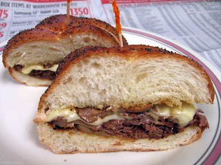 Cheesesteak sandwich with mushrooms