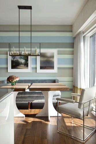 Frank Roop Modern Dining Room Gray Blue Silk