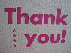 thank you card - pink on orange