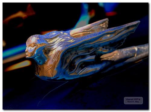 blue sculpture color detail macro art beauty car northerncalifornia metal design automobile colorful details dramatic ornament rusted americana artdeco unusual oldcar hdr hoodornament ukiah ukiahcalifornia 1947cadillac olympuse30 glixpix kevindrenz zuiko1454f28ii kevinrenz kdrenz