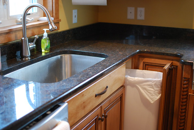 Big sink with small pull out trash can flickr photo sharing - Small pull out trash can ...