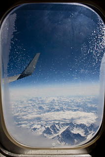 The Alps through an airplane window