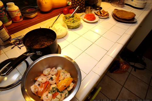 shrimp, black beans, cheese, guacamole, tomato, fish & potatoes, sun dried tomato tortilla    MG 4815