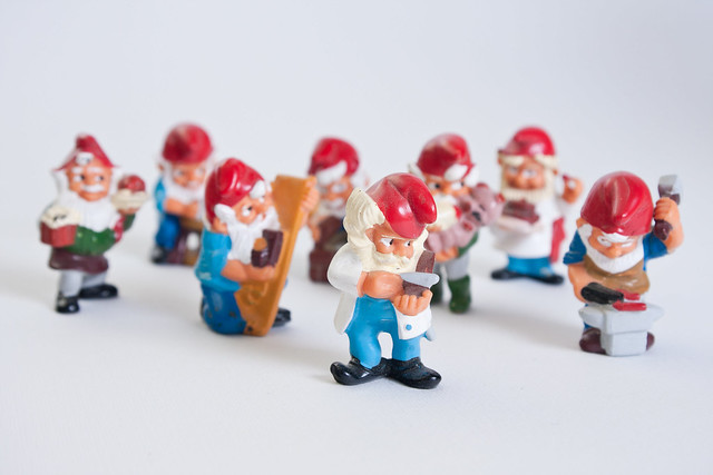 A group of Kinder egg working gnomes