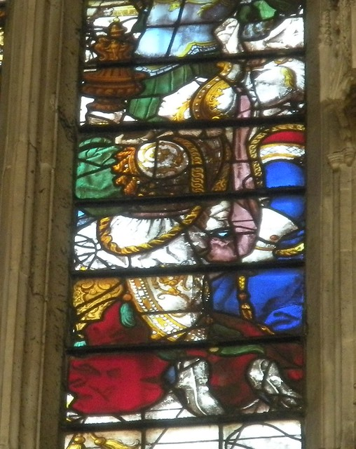 Detail of the Queen of Sheba window in Chapel of King's College, Cambridge