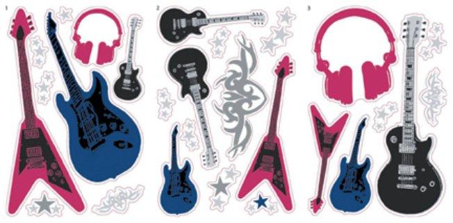 Black childrens funky guitar teenage music kids wallpaper - Guitar border wallpaper ...