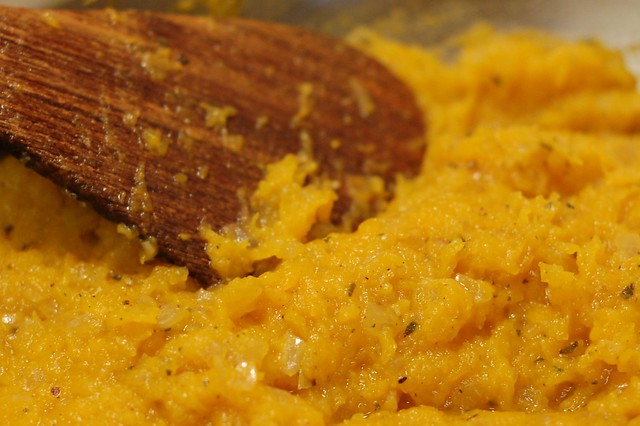 After adding the roasted butternut squash to the filling mixture