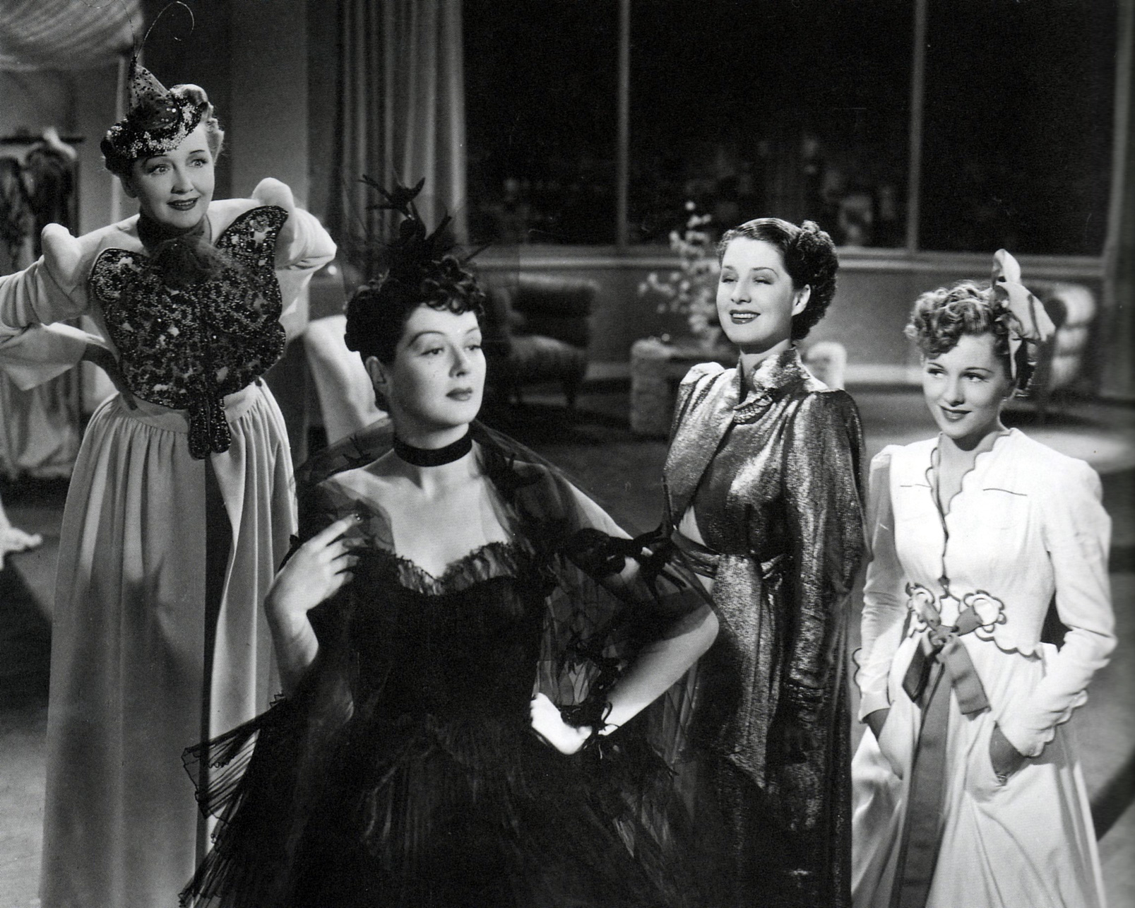 "Rosalind Russell, Norma Shearer and Joan Fontaine in ""The Women"", 1939"