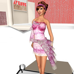 gown(0.0), undergarment(0.0), lingerie(0.0), costume(0.0), toy(0.0), clothing(1.0), cocktail dress(1.0), cartoon(1.0), pink(1.0), dress(1.0), adult(1.0),