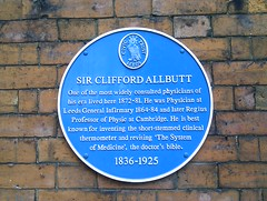 Photo of Clifford Allbutt blue plaque