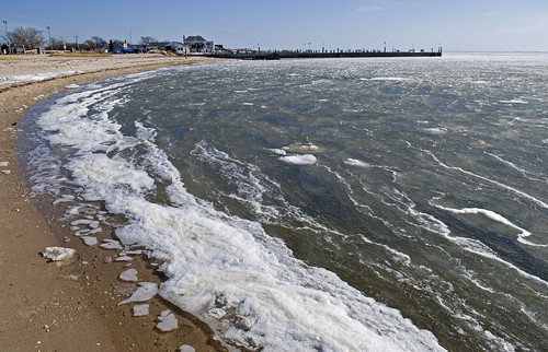 icy shore in Sayville by Alida's Photos
