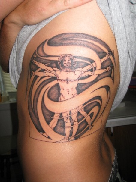 vitruvian man tattoo -...