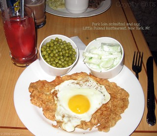 Pork loin schnitzel and egg
