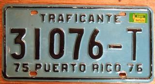 PUERTO RICO 1976 ---TRAFICANTE LICENSE PLATE