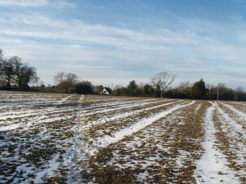 Snowy field Snodland to Sole Street