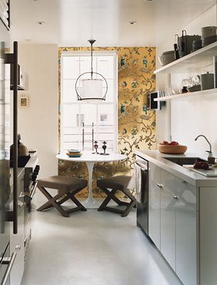 ideas for small spaces white galley kitchen saarinen ta On galley kitchen table