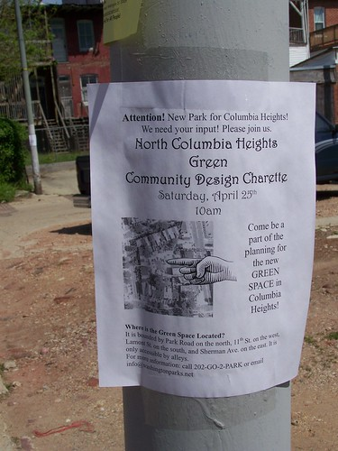 Flyer on a streetlight pole, North Columbia Heights green, Washington Parks and People project, Columbia Heights