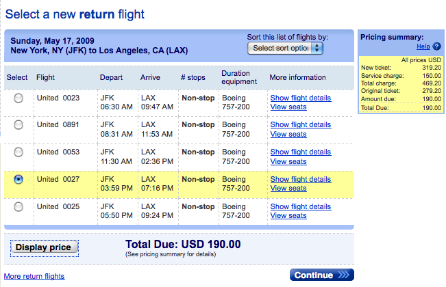 Domestic Airline Change Fees