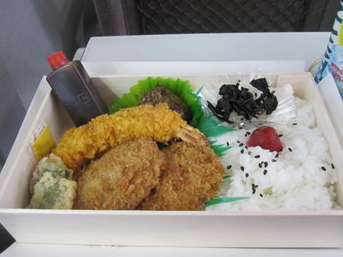 Bento box eaten on the Shinkansen train to Osaka