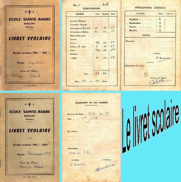 Roscoff - Livret scolaire des années 60