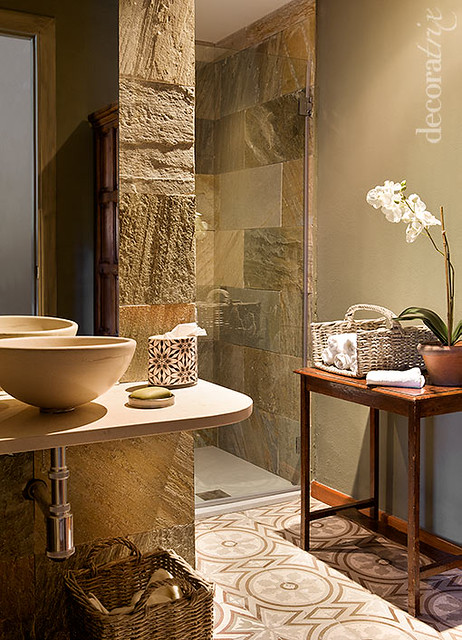 Baños Rusticos De Piedra:Baño de estilo rústico
