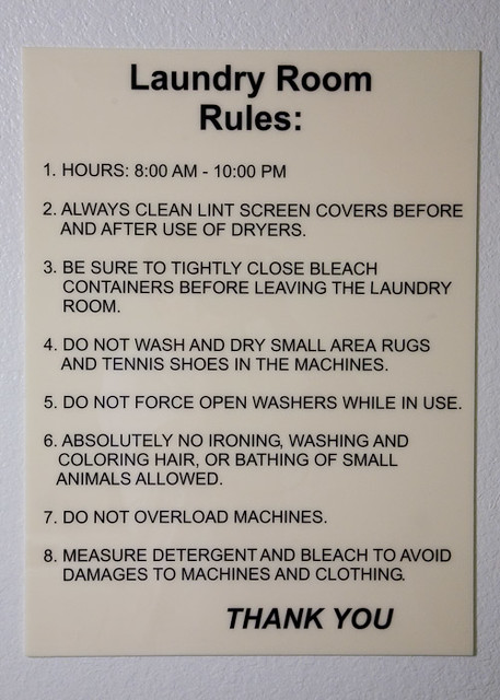 The Laundry Room Rules Pun Intended