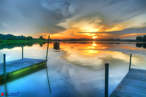 reflection sunrise canon out boat interestingness singapore reaching jetty reservoir explore dev hdr raj seletar vimal mywinners