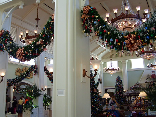 Christmas Decorations In Hotel Lobby : Disney boardwalk resort hotel lobby christmas