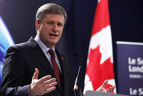 Prime Minister of Canada, Stephen Harper addresses the worlds media
