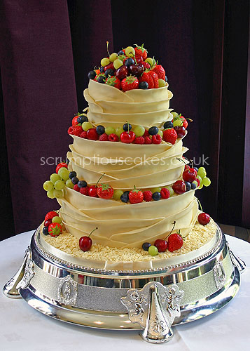 Wedding Cake White Chocolate Wrap Fresh Fruit A Photo On - Fresh Fruit Wedding Cake