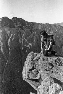 Stuart Robertson in the Spencer Mountains, Nelson, New Zealand, 1977