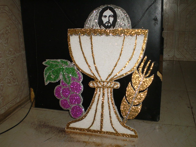First holy communion backdrop decoration by for Altar decoration for first holy communion