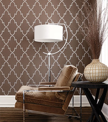 Modern wallpaper: Metallic brown geometric print + brown velvet chair