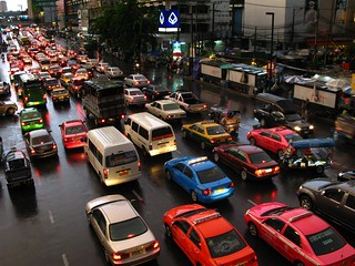 Traffic jam in Bangkok - rainy day version