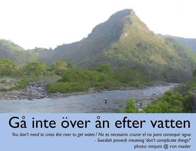 you don't need to cross the river to get water (gå inte över ån efter vatten) @anderskarr #swedish #proverb