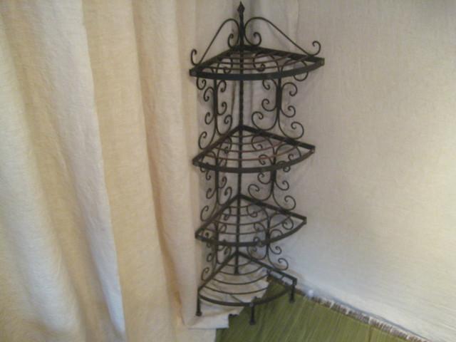 black metal corner shelf charming wrought iron four. Black Bedroom Furniture Sets. Home Design Ideas