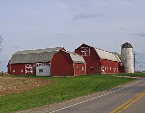 road red rural spring michigan farm country farming barns silo ag agriculture washingtontownship