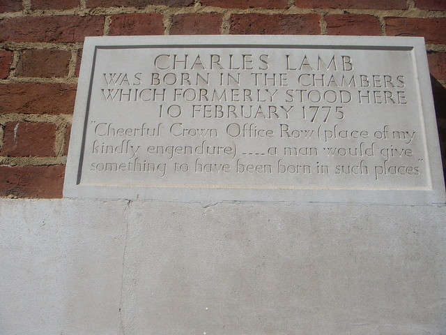 Charles Lamb grey plaque - Charles Lamb was born in the chambers which formerly stood here 10 February 1775.