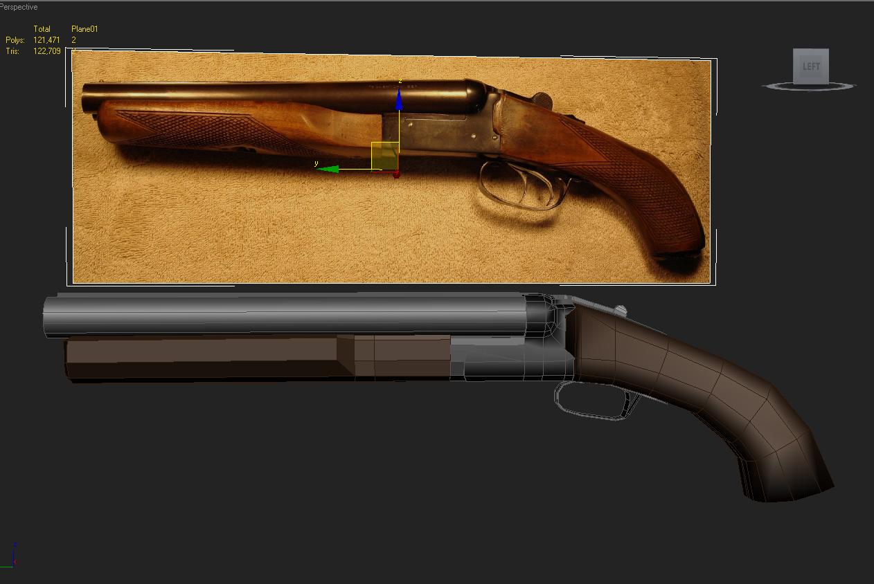 Sawed off Double Barrel shotgun — polycount
