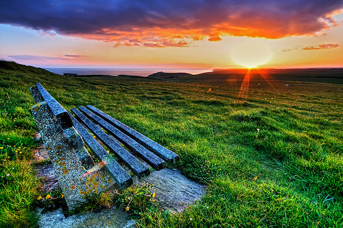 sunset sea sun grass clouds bench landscape geotagged sussex bright seat horizon wideangle eastbourne eastsussex hdr southdowns beachyhead sigma1020 tonemapped nikond300s