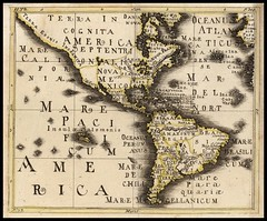 AM - Anon c1700 Rare and interesting map of America, with a massive unknown NW Coast of America and unusual engraving style. Raremaps
